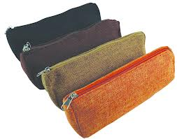 Jute Zippered Pencil Pouch